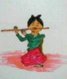 笛を吹く童女
